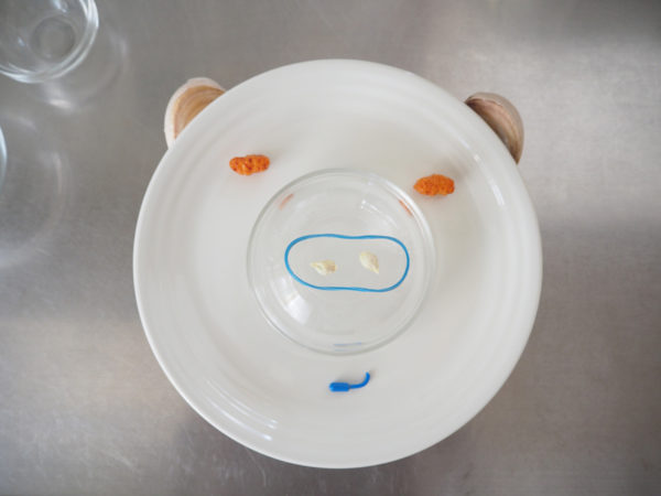 お皿、おかき、にんにく、わごむで作ったブタ